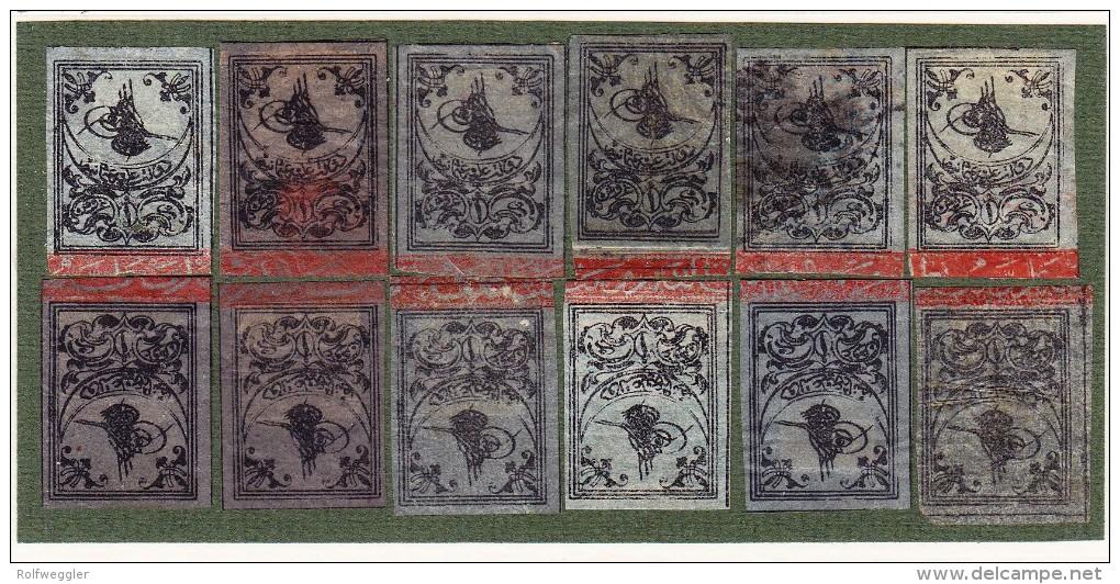 Türkei - TOUGHRA Ausgabe Mi.#2/II 1862/64 1Pia Schwarz Auf Lila (x12) -  11 * + 1 Gestempelt - Neufs