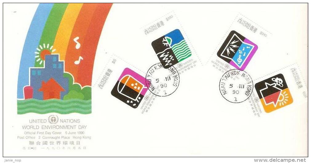 Hong Kong 1990 UN World Environment Day FDC - Hong Kong (...-1997)