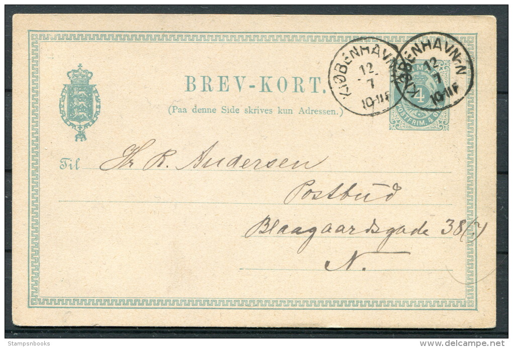 1882 Denmark 4ore Brev-kort Norrebro Kopenhagen - 1864-04 (Christian IX)