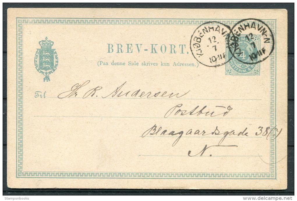1882 Denmark 4ore Brev-kort Norrebro Kopenhagen - Lettere