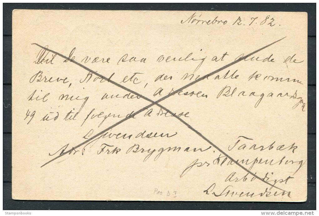 1882 Denmark 4ore Brev-kort Norrebro Kopenhagen - Briefe U. Dokumente