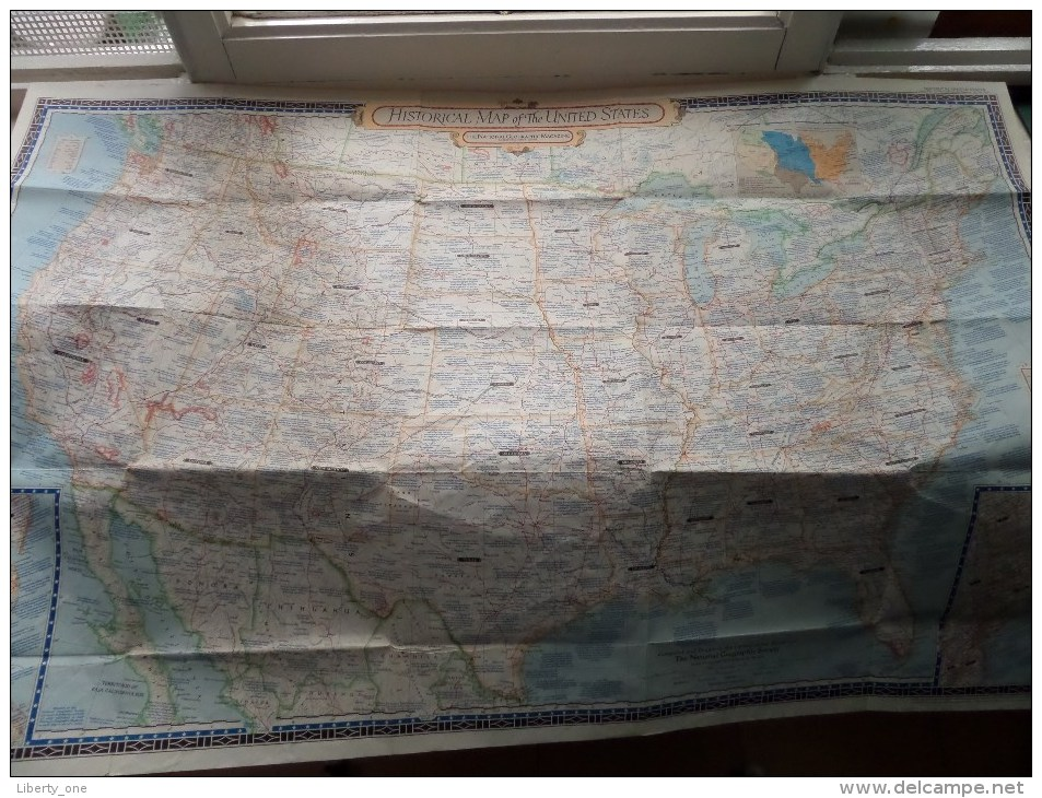 HISTORICAL MAP Of The UNITED STATES ( National Geographic ) Scale I : 5.000.000 Or 78.91 Miles To The Inch - 1953 ! - World