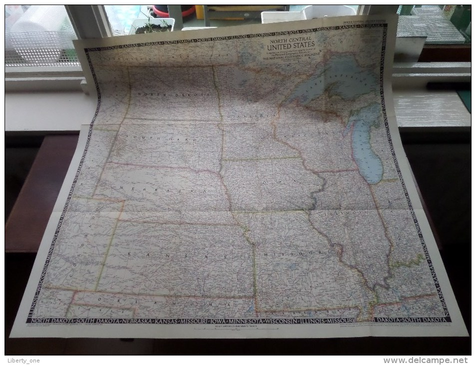 NORTH CENTRAL UNITED STATES ( National Geographic ) Scale I : 2.500.000 Or 39.46 Miles To The Inch - 1948 ! - World