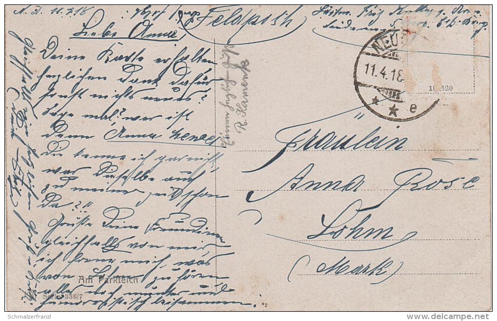 Künstlerkarte AK Am Parkteich Serie 336 Nr. 7 Catharina Klein ? - 1900-1949