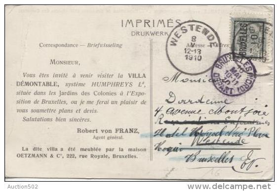 TP 81 Roulette Bruxelles 1910 Publicité Villa Démontable V.Westende C.d'arrivée Réexp.v.BXL C.Bruxelles Nord PR763 - Precancels