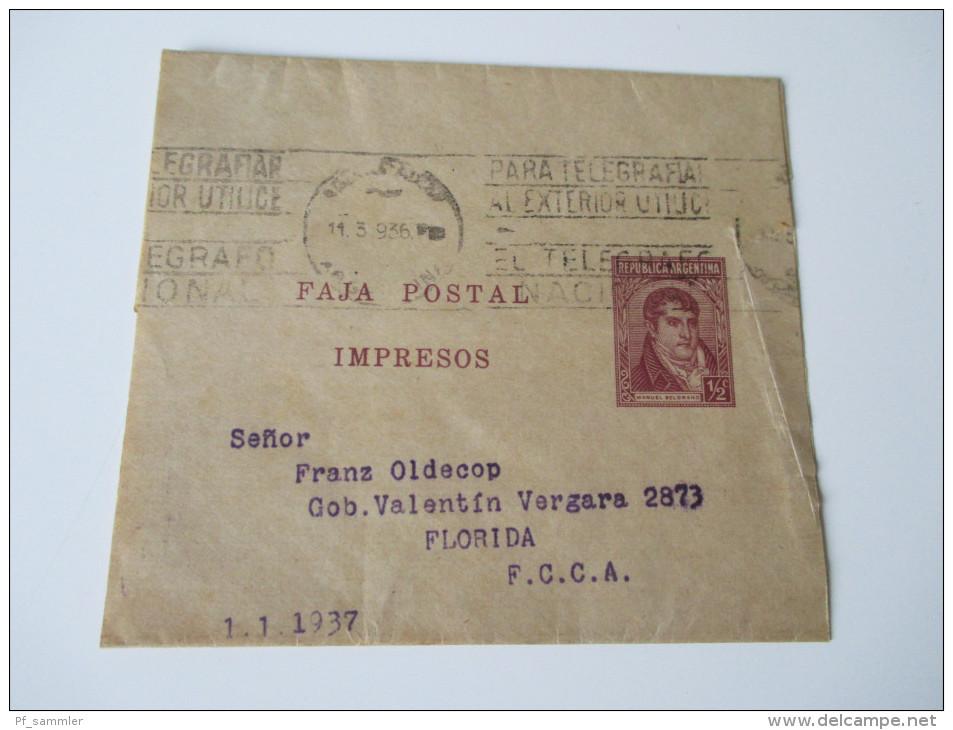 Argentinien 2 Streifbänder 1933 Und 1937 Faja Postal Impresos. Nach Venuzuele Und Florida... - Argentinien