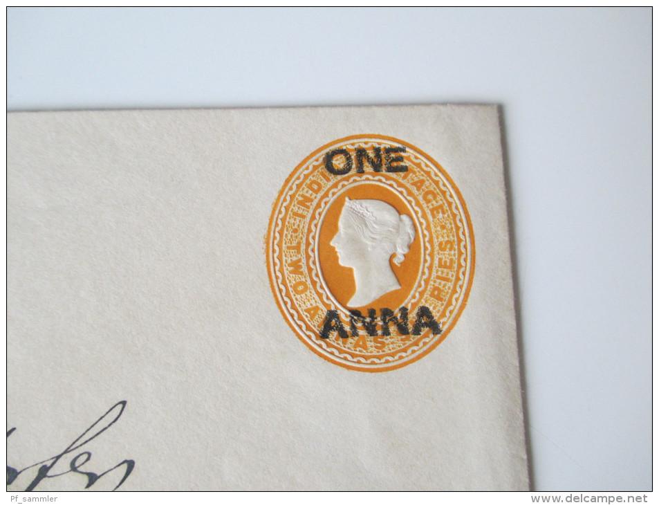Indien Alte Ganzsache / Ganzsachenumschlag Two Annas Mit Überdruck One Anna - Briefe