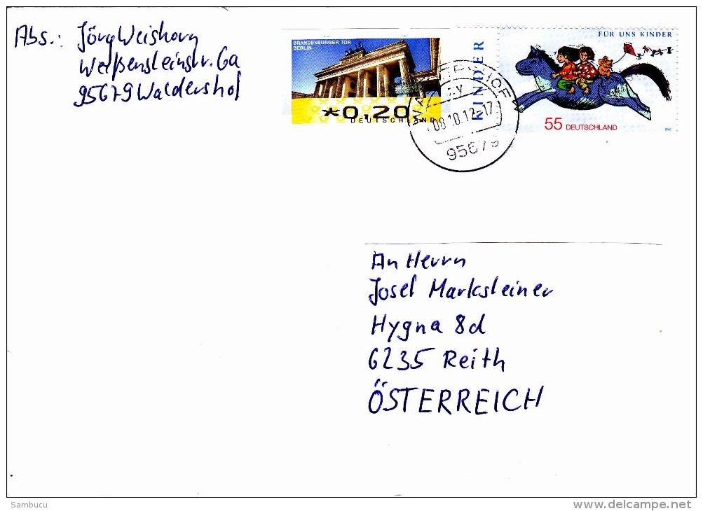 Auslandsbrief Von 95679 Waldershof Mit 55 Cent Für Uns Kinder + 20 Cent Automatenmarke 2012 - BRD