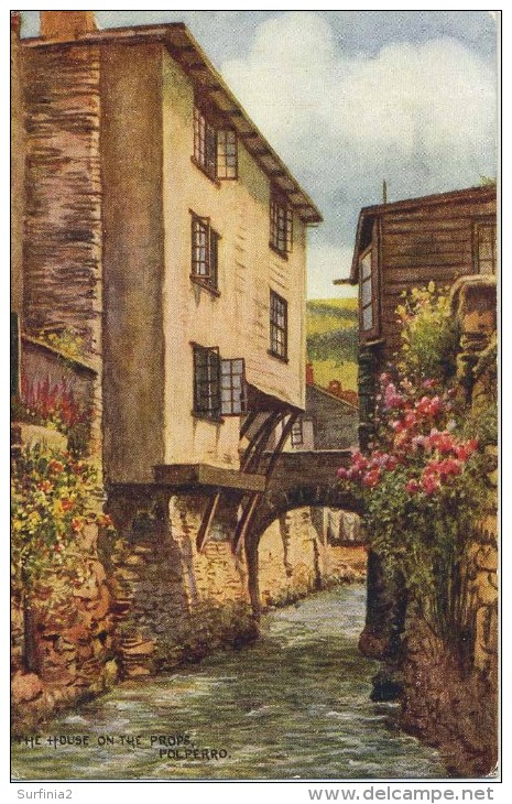 SALMON ART CARD - CARRUTHERS - 4146 - THE HOUSE ON THE PROPS, POLPERRO - England