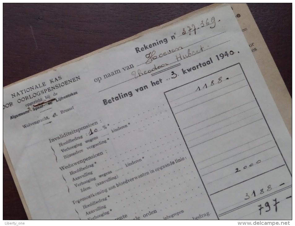 HOEVEN Théodore Nationale Kas Voor Oorlogspensioenen Anno 1940/41 - 2 Stuks Docu ( Zie Foto´s Voor Details) ! - Documents