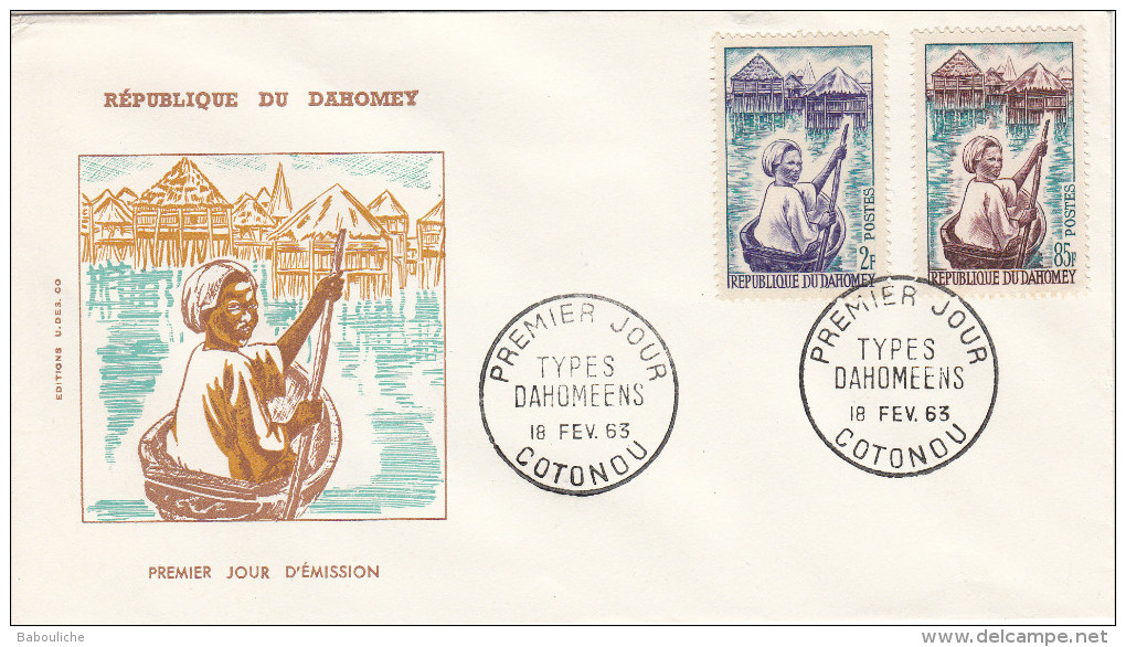 Dahomey - Enveloppe Premier Jour - 1963 - Types Dahoméens - Jeune Piroguière à Ganvié - Benin – Dahomey (1960-...)