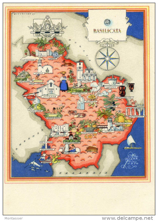 Cartina Tematica Spagna.Carte Geografiche Basilicata Carta Tematica Della Regione Non Vg Anni 50