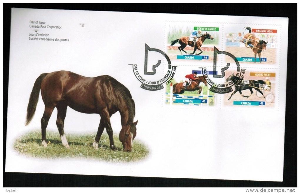 CANADA, 1999, OFDC # 1794a,   CANADIAN HORSES:NORTHERN DANCER, KINGSWAY SKOAL,BIG BEN, AMBRO FIGHT - 1991-2000