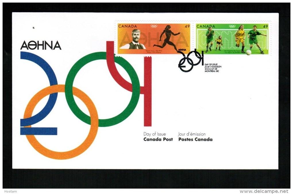 CANADA, 2004, OFDC # 2050a,  2004 OLYMPIC SUMMER GAMES: Marathon & Soccer - 2001-2010