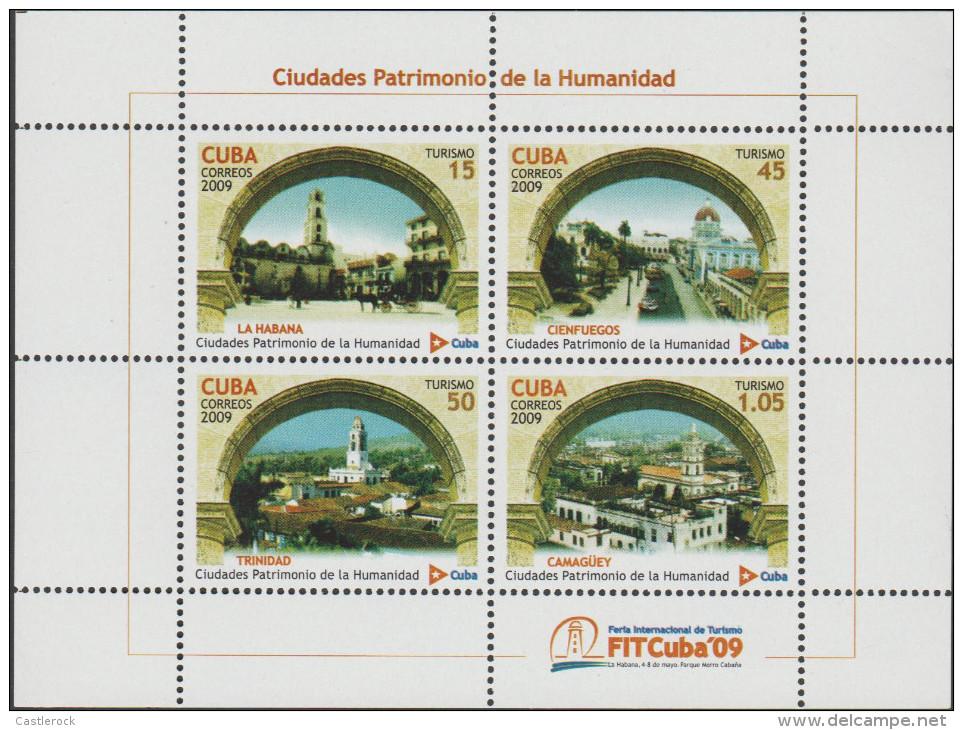 O) 2009 CARIBE, HAVANA, CIENFUEGOS, TRINIDAD, CAMAGUEY, COMMUNITY HERITAGE CITIES, SOUVENR MNH - Kuba