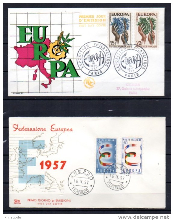 6 FDC, Europa 1957, RFA, Belgique, France, Italie, Sarre, Pays-Bas - 1957
