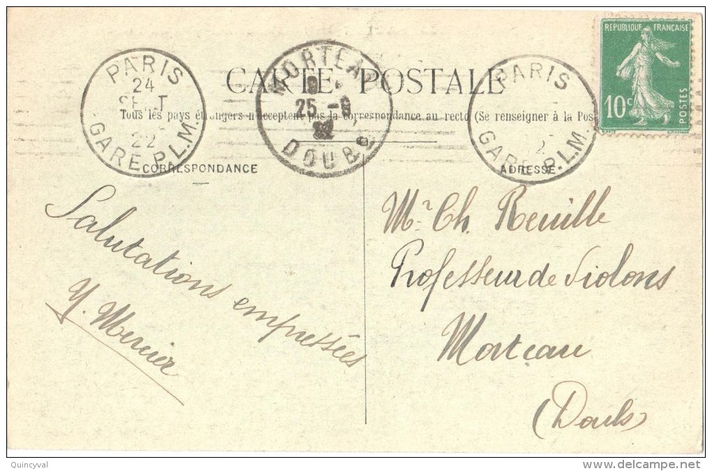 2833 PARIS  GARE P.L.M.  Oblitération Krag Dreyfus C5301 Semeuse 10 C Vert Yv 159 Ob 24 9 22 - Postmark Collection (Covers)