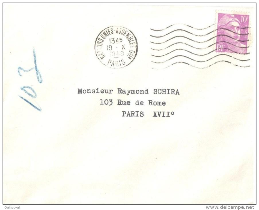 2836 NATIONS UNIS ASSEMBLEE GENERALE  PARIS Ob 19 10 48 Dreyfus D171 Gandon 10 F Violet Yv 8 11 Ob Meca Flier - Postmark Collection (Covers)