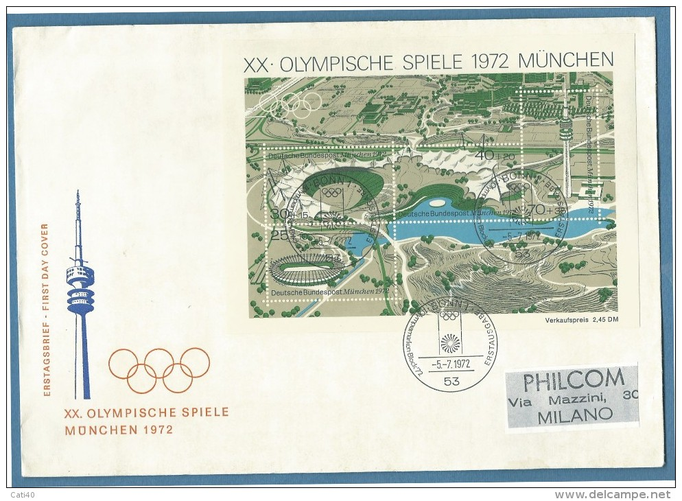 OLIMPIADI - XX OLIMPIADE MONACO 1972 0LYMPISCHE SPIELE MUNCHEN 1972 - FOGLIETTO SU BUSTA - Francobolli