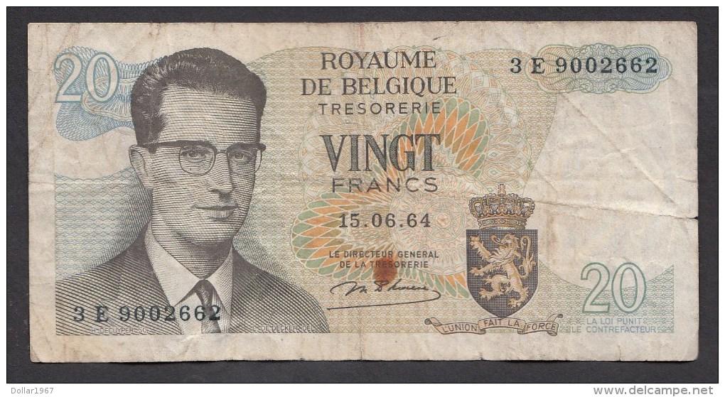 België Belgique Belgium 15 06 1964 20 Francs Atomium Baudouin. 3 E 9002662 - [ 6] Treasury