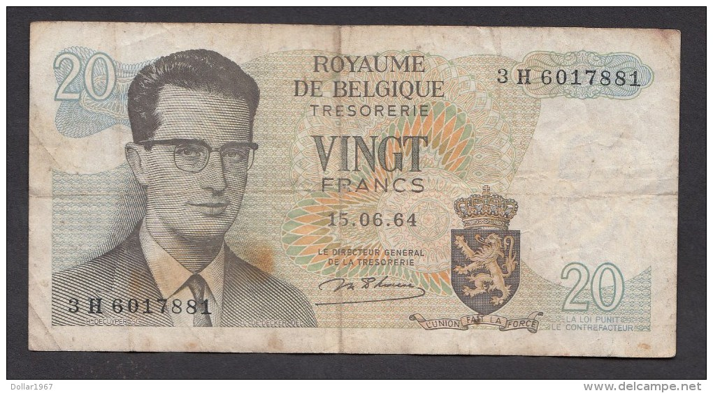 België Belgique Belgium 15 06 1964 20 Francs Atomium Baudouin. 3 H 6017881 - [ 6] Tesoreria