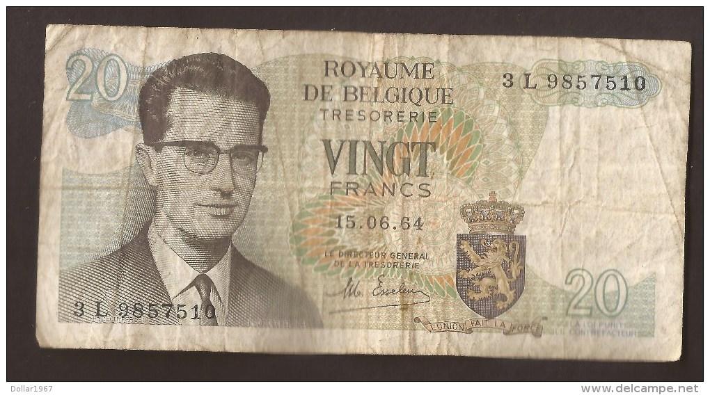 België Belgique Belgium 15 06 1964 20 Francs Atomium Baudouin. 3 L 9857510 - [ 6] Schatzamt