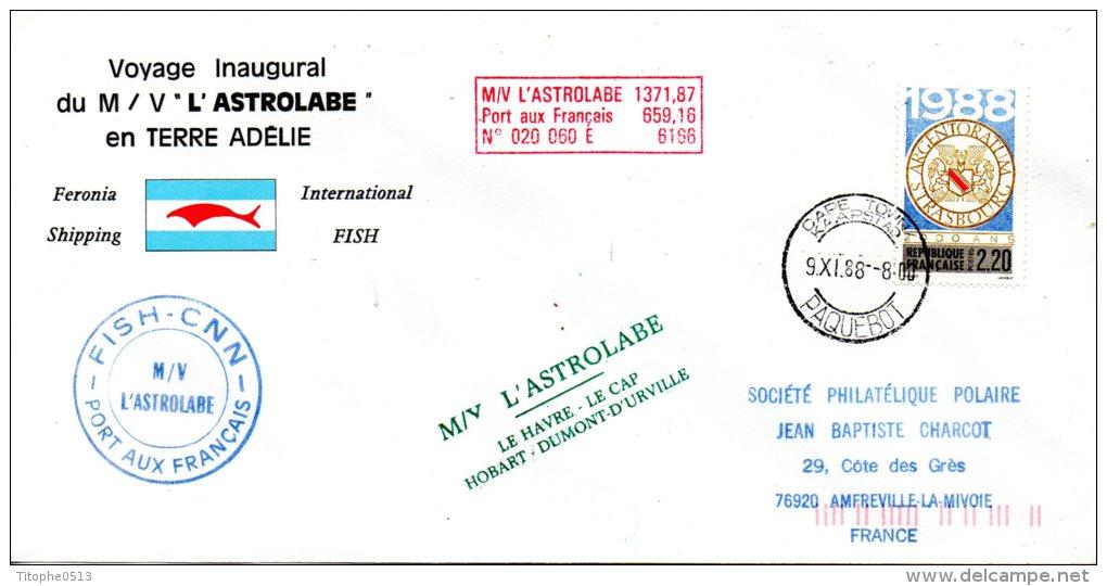FRANCE. Enveloppe Commémorative De 1988. L´Astrolabe En Terre Adélie. Oblitération De Cap Town. - Terres Australes Et Antarctiques Françaises (TAAF)