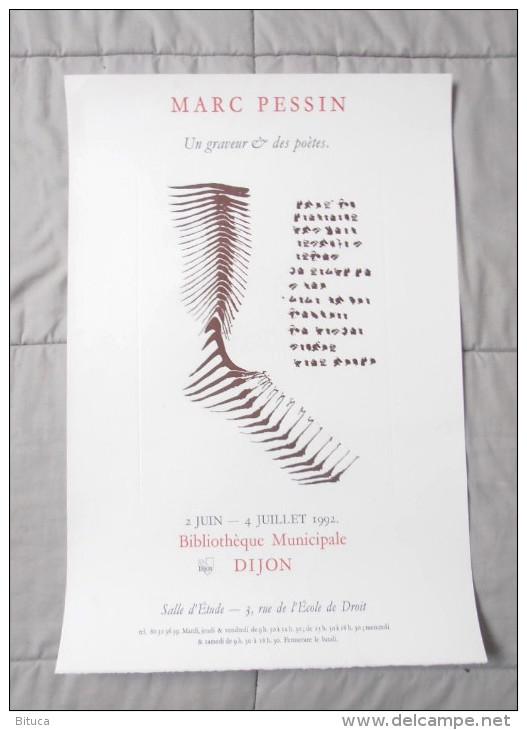 Affiche Exposition Format 56x38 Marc Pessin Tres Rare Du 2 Juin Au 4 Juillet 1992 À Dijon - Plakate & Poster