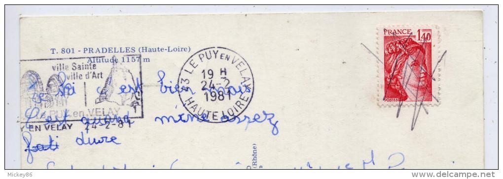 PRADELLES--1981--Multivues--(Voitures Renault-Pub Renault,garage,pompe,commerces),cpm N° 801 éd Cellard - Autres Communes