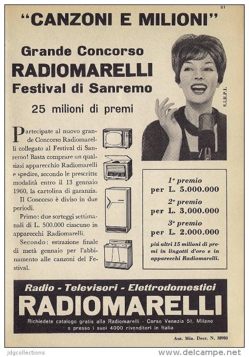 # RADIOMARELLI TV TELEVISION ITALY 1950s Advert Pubblicità Publicitè Reklame Publicidad Radio TV Televisione - Televisione
