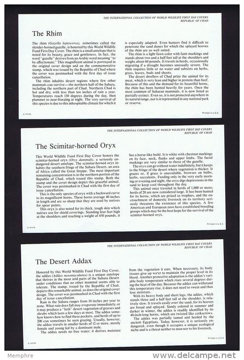 1979  Wildlife:  Gazelle, Addax, Oryx    On WWF FDCs With Inserts - Chad (1960-...)