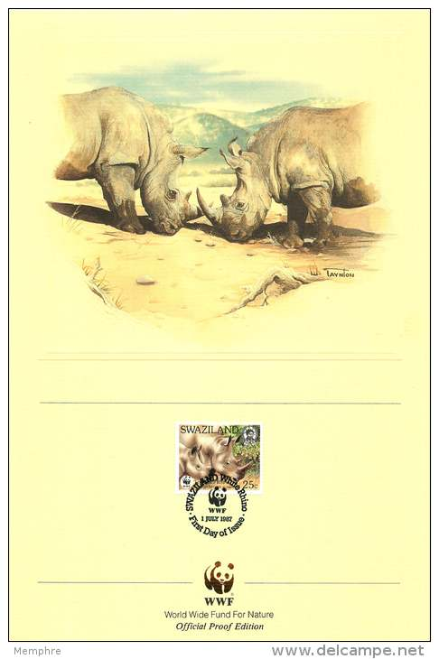 1987  Rhinocéros Blanc  Sur 4 Feuillets Illustrés WWF  Oblitérés Premier Jour - Swaziland (1968-...)