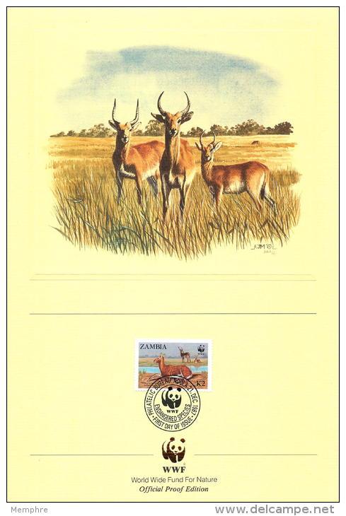 1987  Lechwe Noir (antilope)  Série  Sur 4 Feuillets Illustrés De La WWF Oblitérés Premier Jour - Zambie (1965-...)