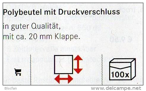 100 Poly-Beutel/Verschluß Größer Neu 2€ Schutz/Sortieren Figuren/Abzeichen #781 Lindner 60x80mm For Stamp,coins Of World - Pin's