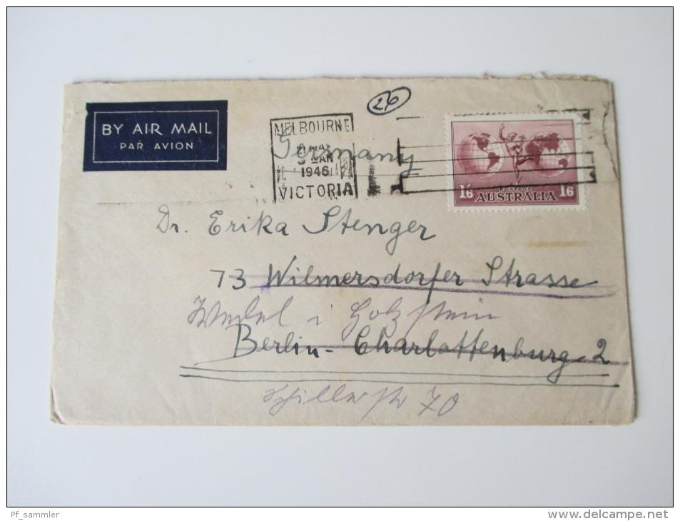 Australien 1934 Nr. 126 Verwendet 1946 Auf Brief Nach Deutschland. Flugpostmarke / By Air Mail / Par Avion - Briefe U. Dokumente