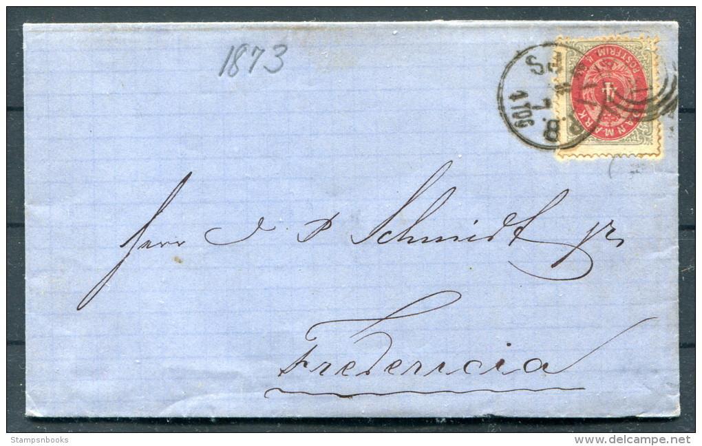 1873 Denmark 4 Sk Railway Cover - Fredericia - Lettere