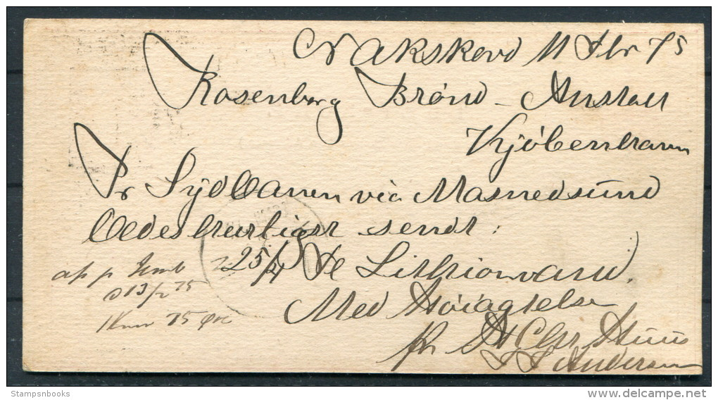 1875 Denmark Nakskov 8 Ore Brev-kort - Copenhagen - 1864-04 (Christian IX)