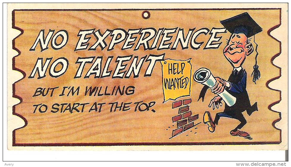 """Wacky Plak Bookmark Post Card  4.8"""" X 2.5""""  12 Cm X 6.3  Cm No Experience No Talent, But I'm Willing To Start At The Top - Humour"""