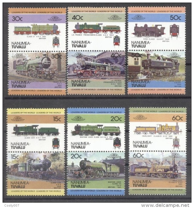 Tuvalu Nanumea 1984 Trains, Railways, 6 Pair, MNH E.206 - Tuvalu