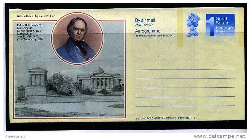 GREAT BRITAIN - 1989  WILLIAM HENRY PLAYFAIR  AEROGRAMME  MINT - Interi Postali