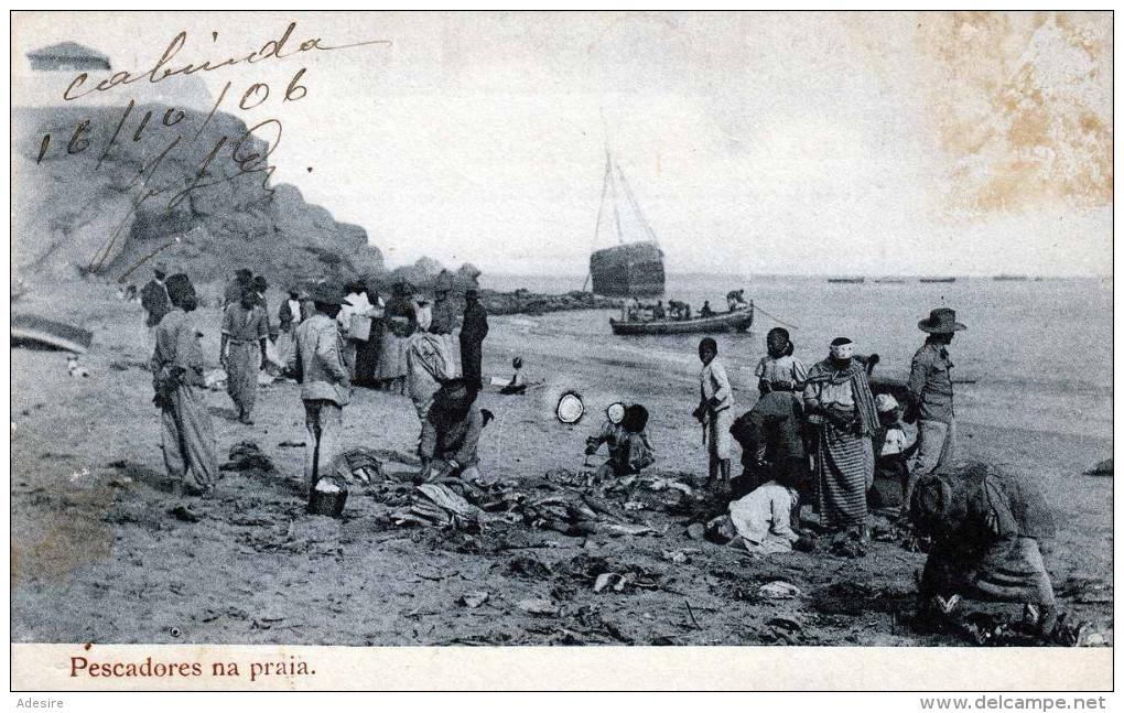 ANGOLA - Pescadores Na Praia, Gel.1910?, Abgel.Marke - Angola