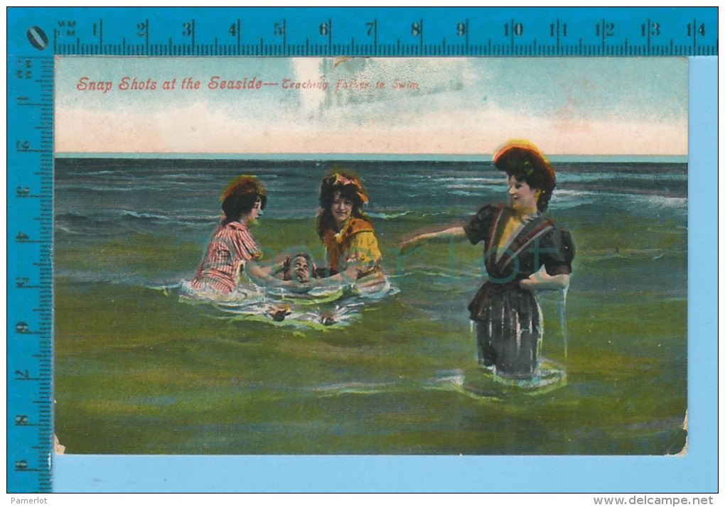 ( Women Teaching Father To Swim Cover 1908 ,bathing Suit, East Dudwell, Bishop Crossing Quebec )  2 SCAN - Women