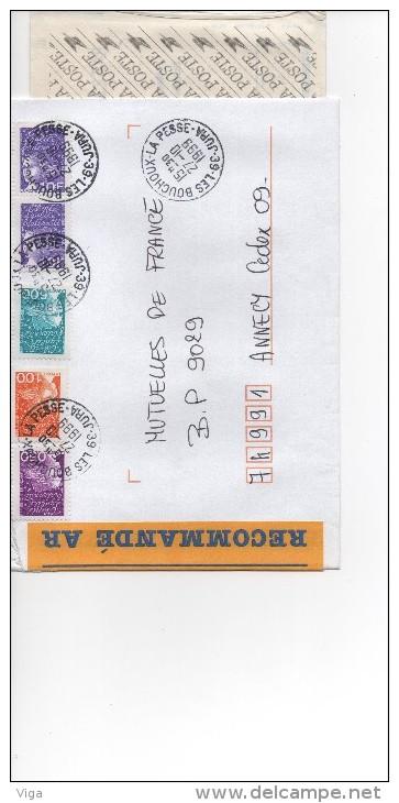 MARIANNE DU 14 JUILLET 10F X 2 +  5,00  +  1,00  +  0.50  RECOMMANDE  AR   27/10/1999 SUPERBE - 1997-04 Marianne Of July 14th