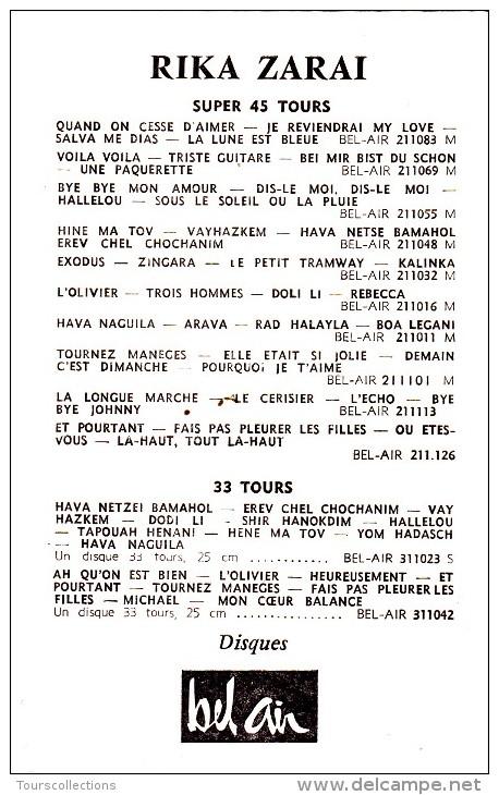 DEDICACE Originale Autographe Chanteuse Rika ZARAI 1963 @ Photo Disques Bel Air - Autographes