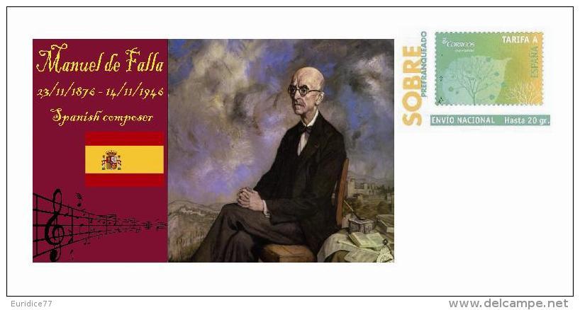 Spain 2013 - History Of Classical Music - Manuel De Falla Special Prepaid Cover - Musica
