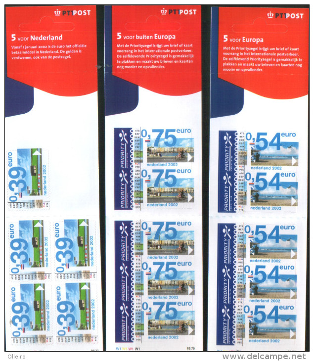 Olanda Pays-Bas Nederland  2002  3 Carnet Del 2001 Con Valori Solo In Euro Con 5x0,39 - 5x0,54- 5x0,75   ** MNH - Libretti