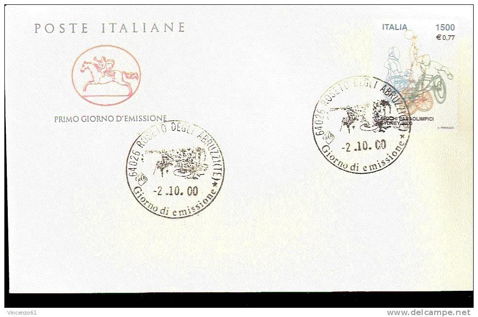 2000 ANNULLO FDC  Lo Sport Italiano. Sydney 2000. Giochi Paraolimpici. Sydney. - Handisport