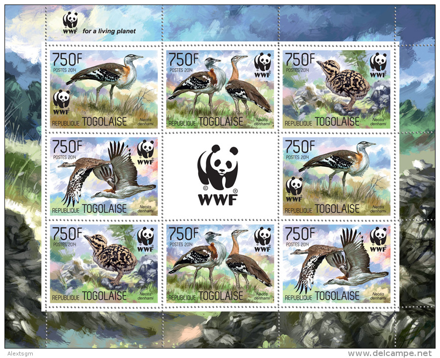 TOGO 2014 - WWF, Neotis Denhami, M/S With 2 Sets - YT 3964-7; CV = 34 € - Unused Stamps