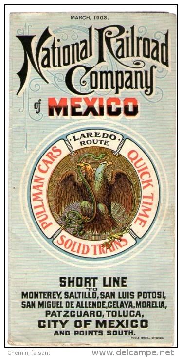 Mars 1903 - Carte Et Horaires Lignes CHEMINS DE FER CIE NATIONALE DU MEXIQUE - Format Carte 600 X 600mm - Monde