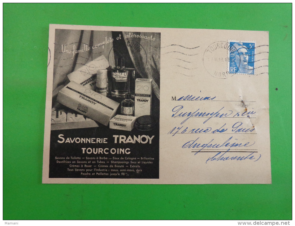 Releve De Facture Sur Carte Postale Savonnerie Tranoy Tourcoing- - France